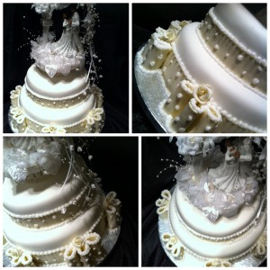 pearl-ribbon-wedding-cake-beaded-ribbon-2-tier-bride and groom-topper