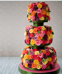 roses 3 tier wedding cakes