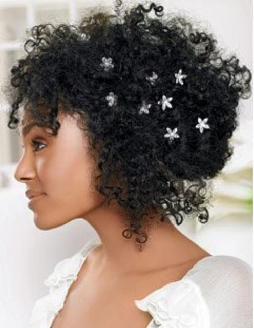 Picture Of Black Bride Hairstyle With Small Curls