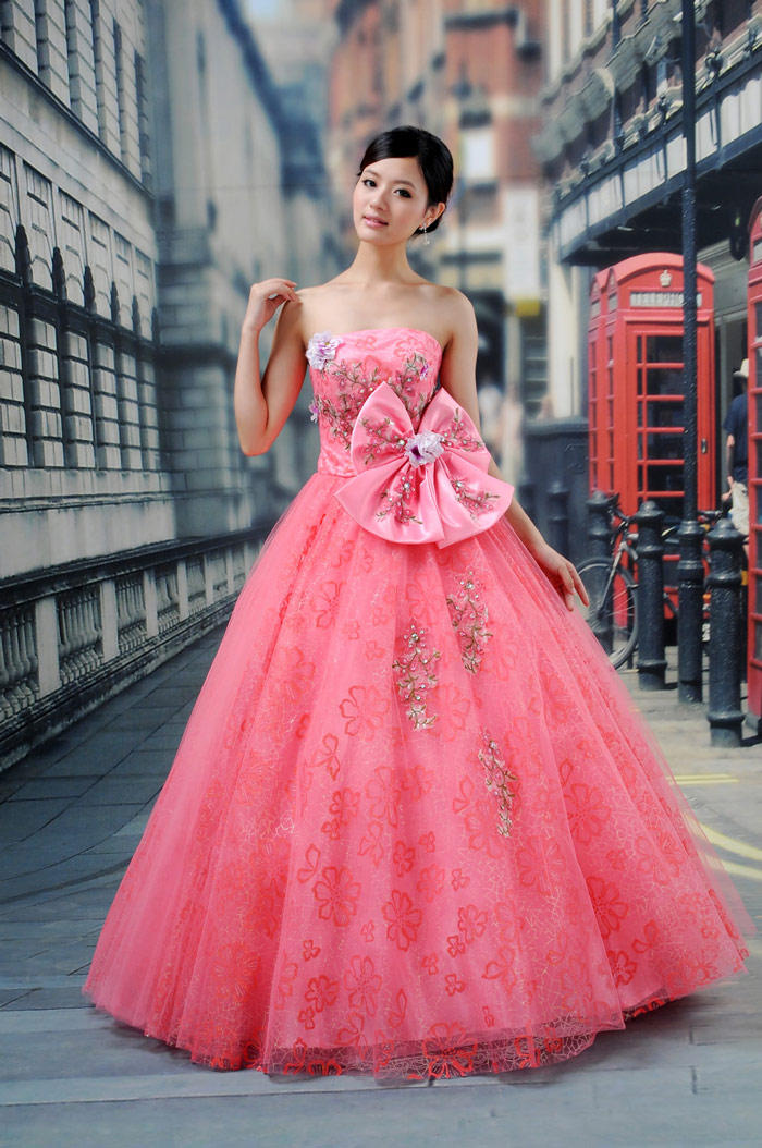 Color Wedding Dresses with Bow
